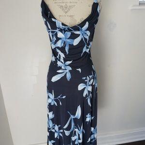 ESCADA Blue Floral Sheath Strapless Silky Dress
